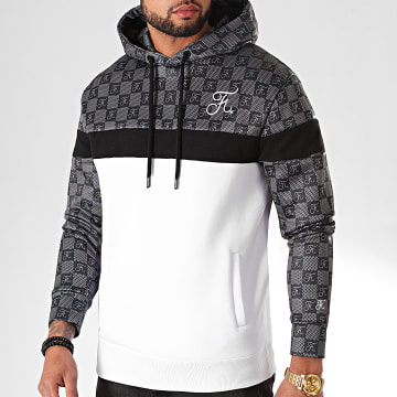 Final Club - Sweat Capuche Damier Avec Broderie 306 Noir Gris Blanc
