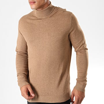 Selected - Pull Col Roulé Tower Camel Chiné
