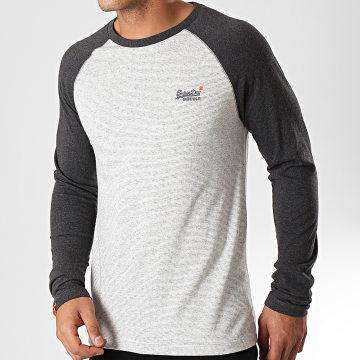 Superdry - Tee Shirt Manches Longues Orange Label Texture Baseball M6000010A Gris Chiné