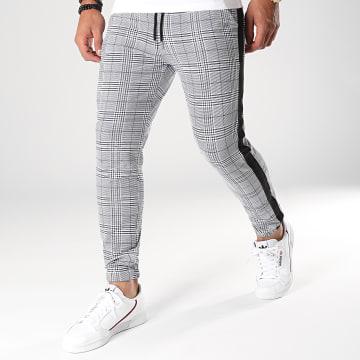 Pantalon A Carreaux Avec Bandes Cordons Noirs 1332 Gris