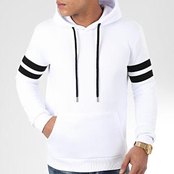 Sweat Capuche Avec Bandes 875 Blanc