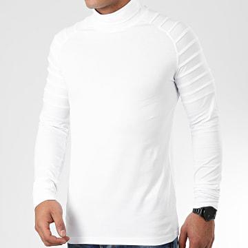Tee Shirt Col Roulé Manches Longues Uni 902 Blanc