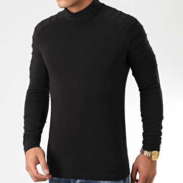 Tee Shirt Col Roulé Manches Longues Uni 903 Noir