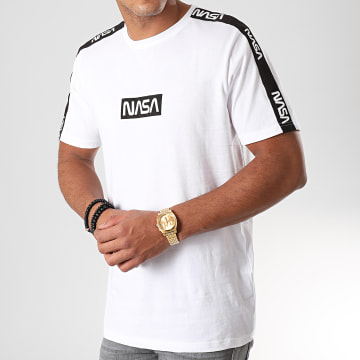 Tee Shirt A Bandes NASA Blanc Noir