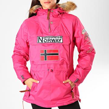 Geographical Norway - Veste Outdoor Capuche Fourrure Femme Bridget Fuschi