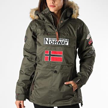 Geographical Norway - Veste Outdoor Capuche Fourrure Femme Bridget Vert Kaki