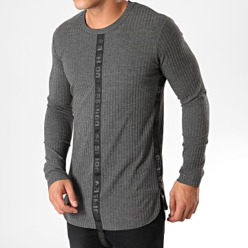 Ikao - Pull Oversize A Bandes F621 Gris Anthracite