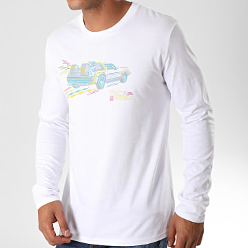 Back To The Future - Tee Shirt Manches Longues Drawing Blanc