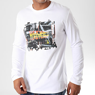 Back To The Future - Tee Shirt Manches Longues Grunge Blanc
