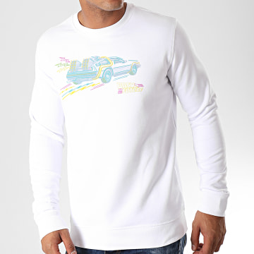 Back To The Future - Sweat Crewneck Drawing Blanc