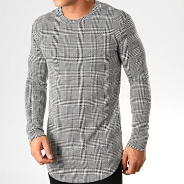 Frilivin - Tee Shirt Manches Longues Oversize A Carreaux 5353 Noir Blanc