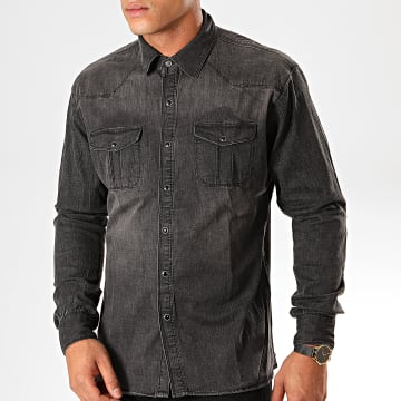 Chemise Manches Longues Jean CA-618 Gris Anthracite