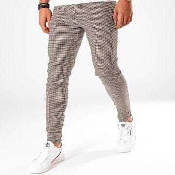 Pantalon Carreaux 1646 Ecru Noir Marron