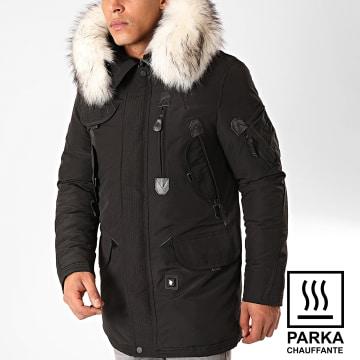 Comme Des Loups - Parka Chauffante Fourrure Copenhagen Noir Blanc