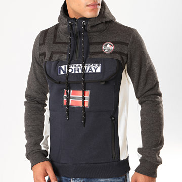 Geographical Norway - Sweat Col Zippé Capuche Fitakol Bleu Marine Gris Anthracite Chiné