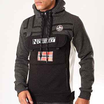 Geographical Norway - Sweat Col Zippé Capuche Fitakol Noir Gris Anthracite Chiné