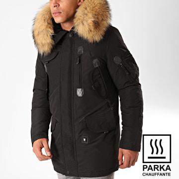Comme Des Loups - Parka Chauffante Fourrure Copenhagen Noir Beige
