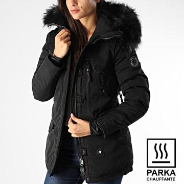 Parka Chauffante Femme Fourrure Montreal Noir