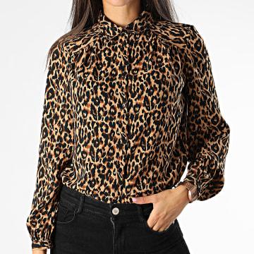 Only - Chemise Manches Longues Femme Leopard Demi Marron Clair Noir