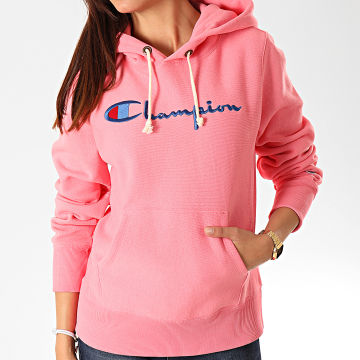 Champion - Sweat Capuche Femme Big Script 111555 Rose