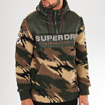 Superdry - Veste Zippée Capuche Camouflage Fourrure Sherpa Worldwide Stealth Half Vert Kaki