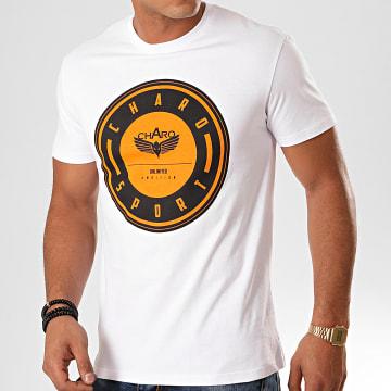 Charo - Tee Shirt Medalion WY4770 Blanc Orange Noir