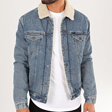 Teddy Smith - Veste Jean Col Mouton Randall Bleu Denim Beige
