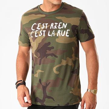 C'est Rien C'est La Rue - Tee Shirt Logo Camouflage Vert Kaki
