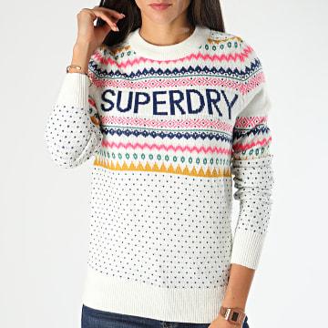 Superdry - Pull Femme Oslo Fairisle W6100020A Blanc Cassé