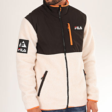 Fila - Veste Zippée Fourrure Mouton Hadi 687248 Noir Beige Orange