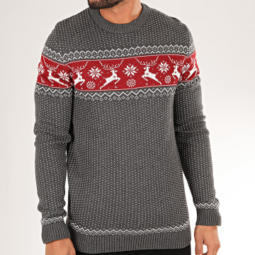 Selected - Pull Deer Gris Anthracite Bordeaux Blanc