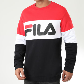 Sweat Crewneck Tricolore Straight Blocked 681255 Noir Rouge Blanc