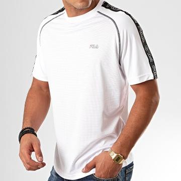 Fila - Tee Shirt De Sport A Bandes Austin 682826 Blanc Noir