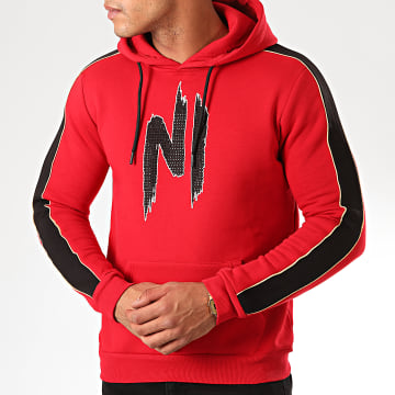 Ninho - Sweat Capuche A Bandes Avec Strass H001 Rouge Noir