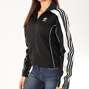 Adidas Originals - Veste Zippée Femme Floral A Bandes Track ED4780 Noir Blanc
