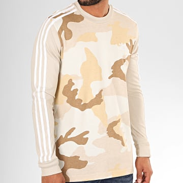 Tee Shirt Manches Longues Camouflage A Bandes ED6967 Beige