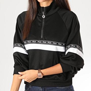 Sweat Col Zippé Femme Chinami 687257 Noir Blanc