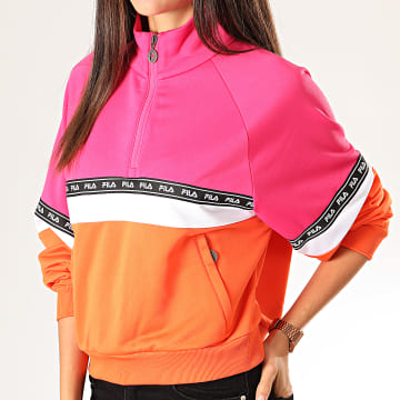 Sweat Col Zippé Femme Chinami 687257 Rose Orange