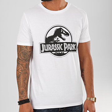 Jurassic Park - Tee Shirt Logo Black And White Blanc