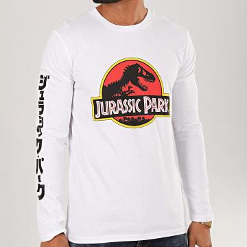 Jurassic Park - Tee Shirt Manches Longues Jurassic Park Original Logo Blanc
