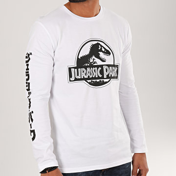 Jurassic Park - Tee Shirt Manches Longues Logo Black And White Blanc