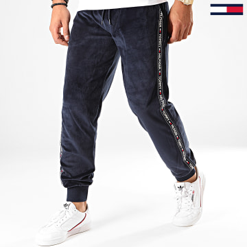 Pantalon Jogging Velours A Bandes 1658 Track Bleu Marine