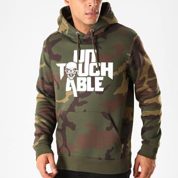 Untouchable - Sweat Capuche Logo Camouflage Vert Kaki
