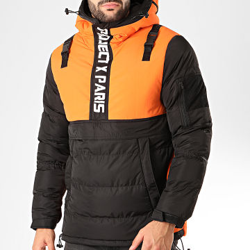Veste Col Zippé Capuche 1950003 Noir Orange