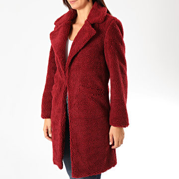 Sixth June - Manteau Femme Fourrure Mouton W3832COW Bordeaux