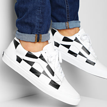 Baskets Old Skool A4BV5TPL Leather Check White Blanc