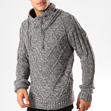 American People - Pull Col Amplified Perce Gris Chiné