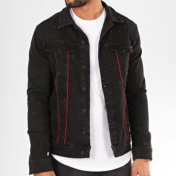 Veste Jean 2802 Noir Rouge