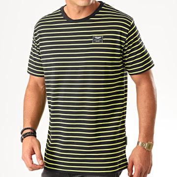 Tee Shirt A Rayures A14T3 Noir Jaune