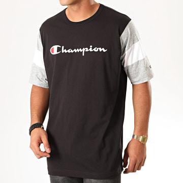Tee Shirt Colour Block Script Logo 231644 Noir Gris Chiné
